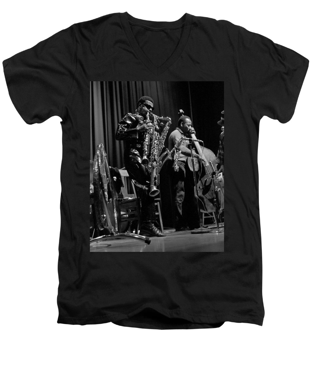 Rahsaan Roland Kirk Men's V-Neck T-Shirt featuring the photograph Rahsaan Roland Kirk 1 by Lee Santa