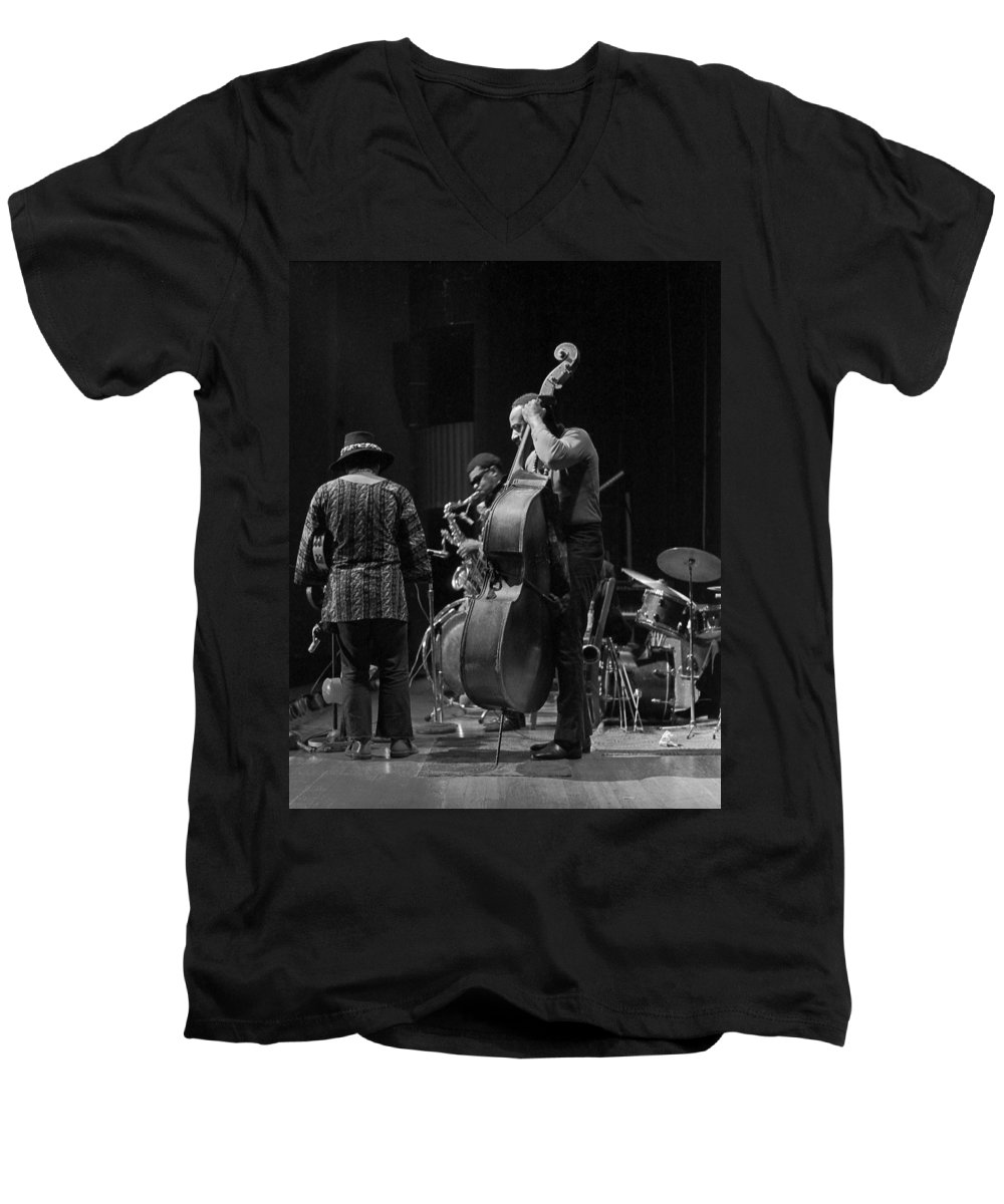 Rahsaan Roland Kirk Men's V-Neck T-Shirt featuring the photograph Rahsaan Roland Kirk 2 by Lee Santa