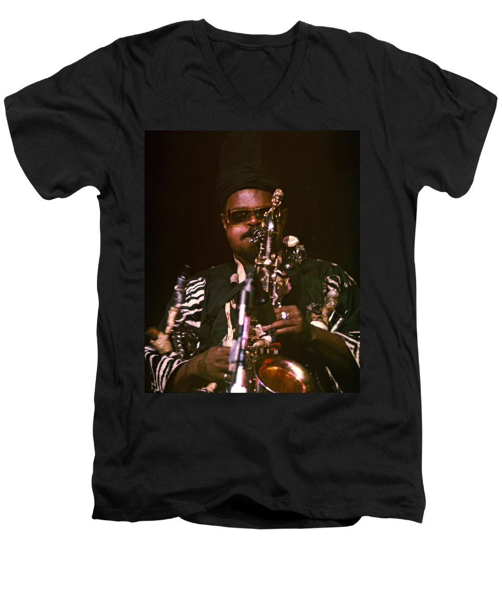 Rahsaan Roland Kirk Men's V-Neck T-Shirt featuring the photograph Rahsaan Roland Kirk 3 by Lee Santa