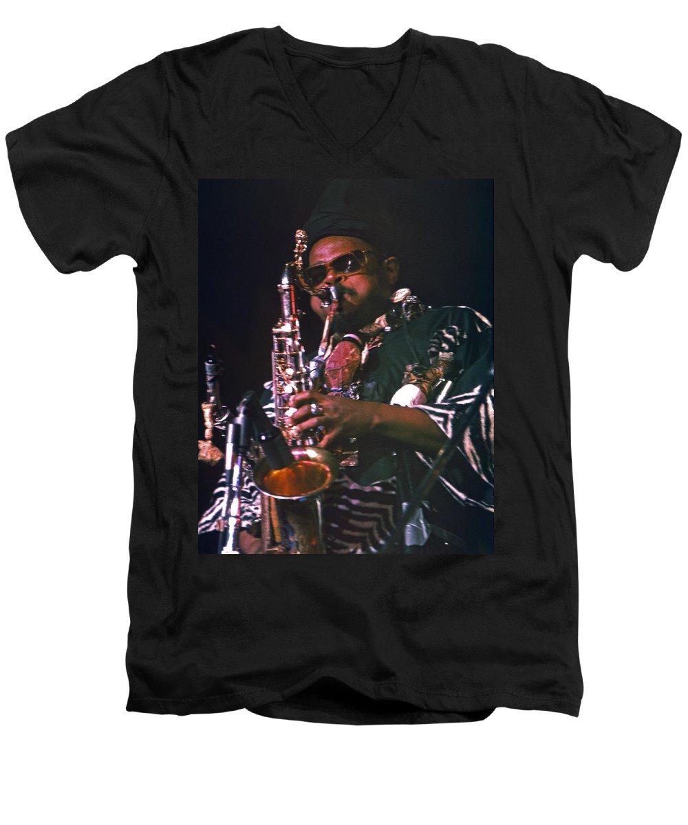Rahsaan Roland Kirk Men's V-Neck T-Shirt featuring the photograph Rahsaan Roland Kirk 4 by Lee Santa