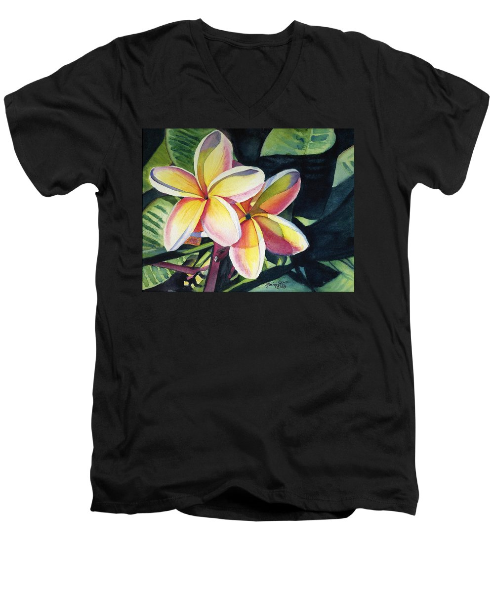 Rainbow Men's V-Neck T-Shirt featuring the painting Rainbow Plumeria by Marionette Taboniar