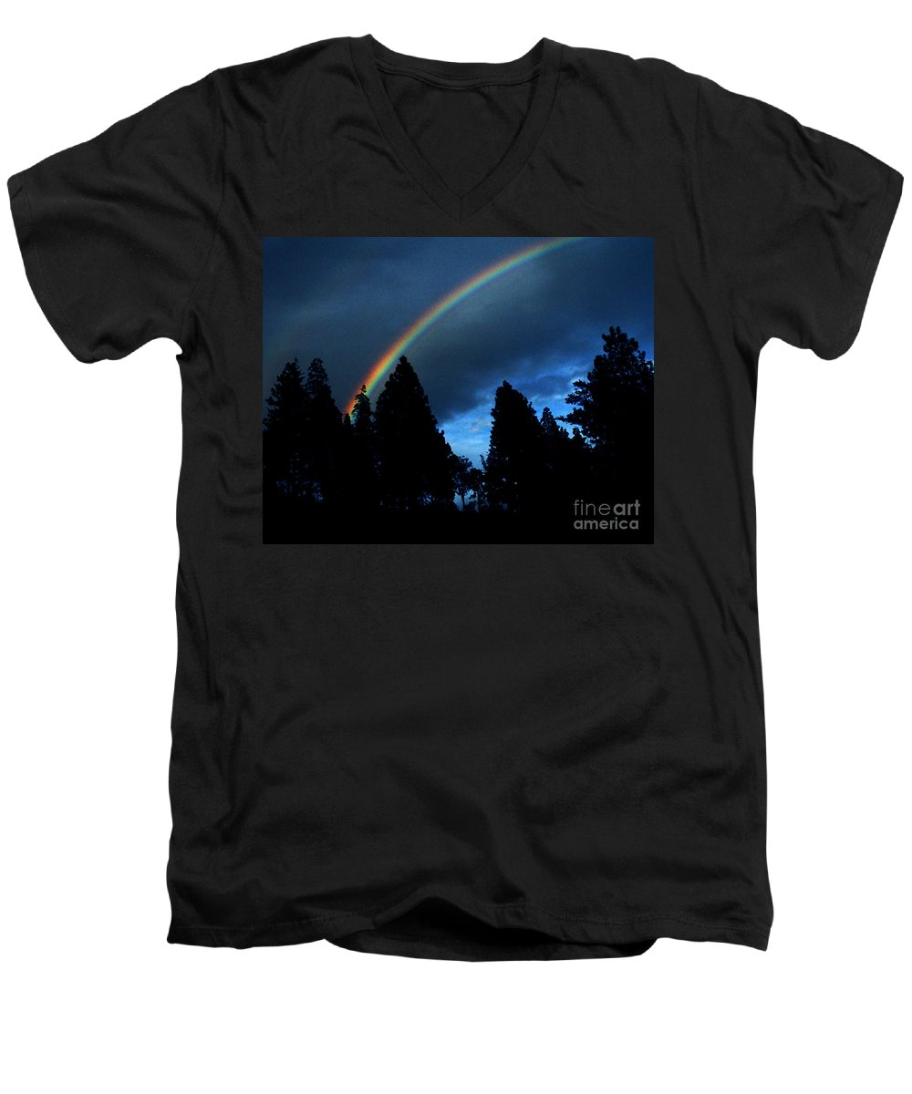 Rainbow Men's V-Neck T-Shirt featuring the photograph Rainbow Sky by Peter Piatt