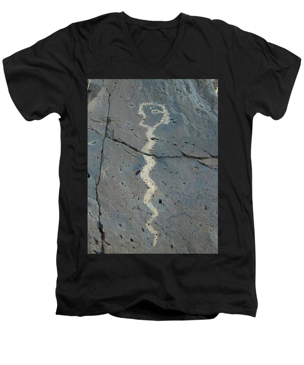 Rattlesnake Men's V-Neck T-Shirt featuring the photograph Rattlesnake Petroglyph 2 by Tim McCarthy