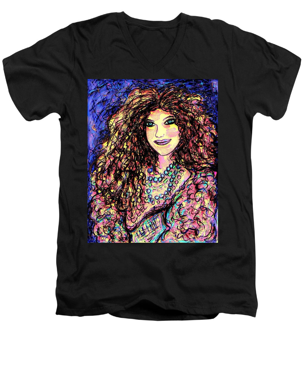 Woman Men's V-Neck T-Shirt featuring the painting Ravishing Beauty by Natalie Holland