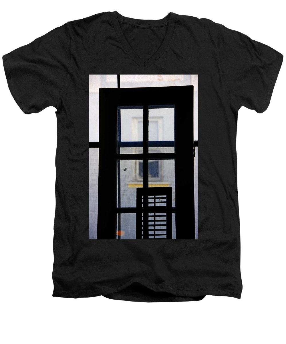 Architecture Men's V-Neck T-Shirt featuring the photograph Rear Window 2 by Skip Hunt