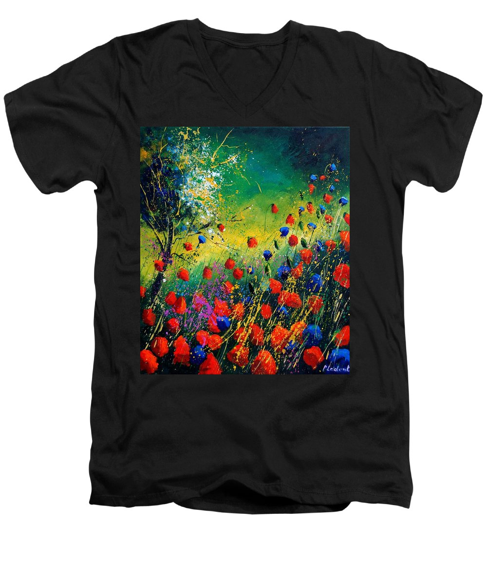 Flowers Men's V-Neck T-Shirt featuring the painting Red And Blue Poppies by Pol Ledent