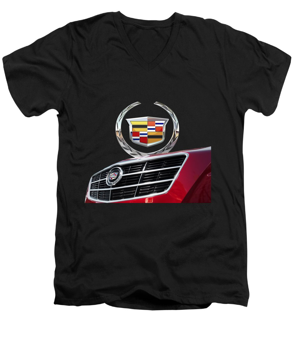 'auto Badges' By Serge Averbukh Men's V-Neck T-Shirt featuring the photograph Red Cadillac C T S - Front Grill Ornament And 3d Badge On Black by Serge Averbukh