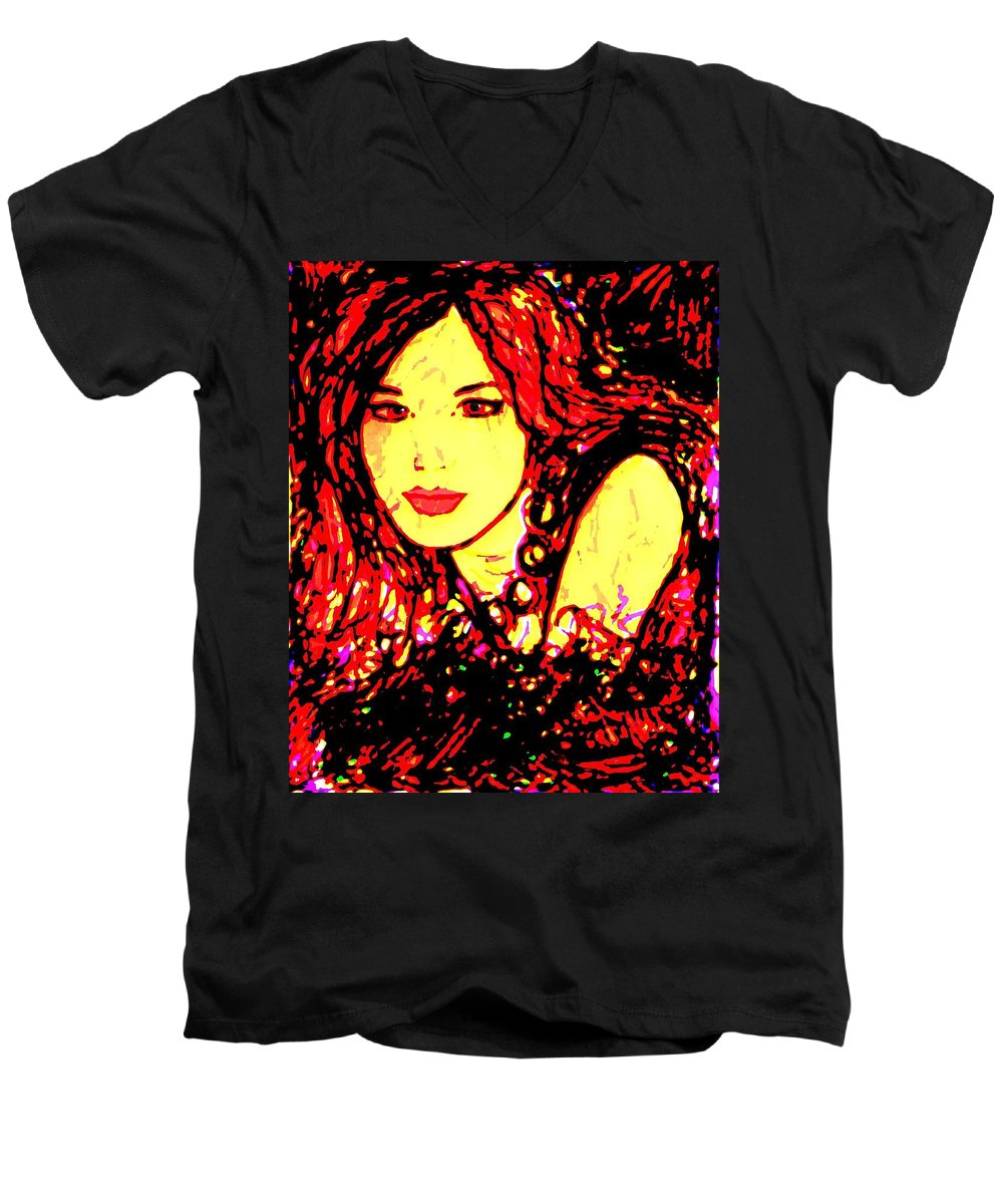 Woman Men's V-Neck T-Shirt featuring the painting Red Flirt by Natalie Holland