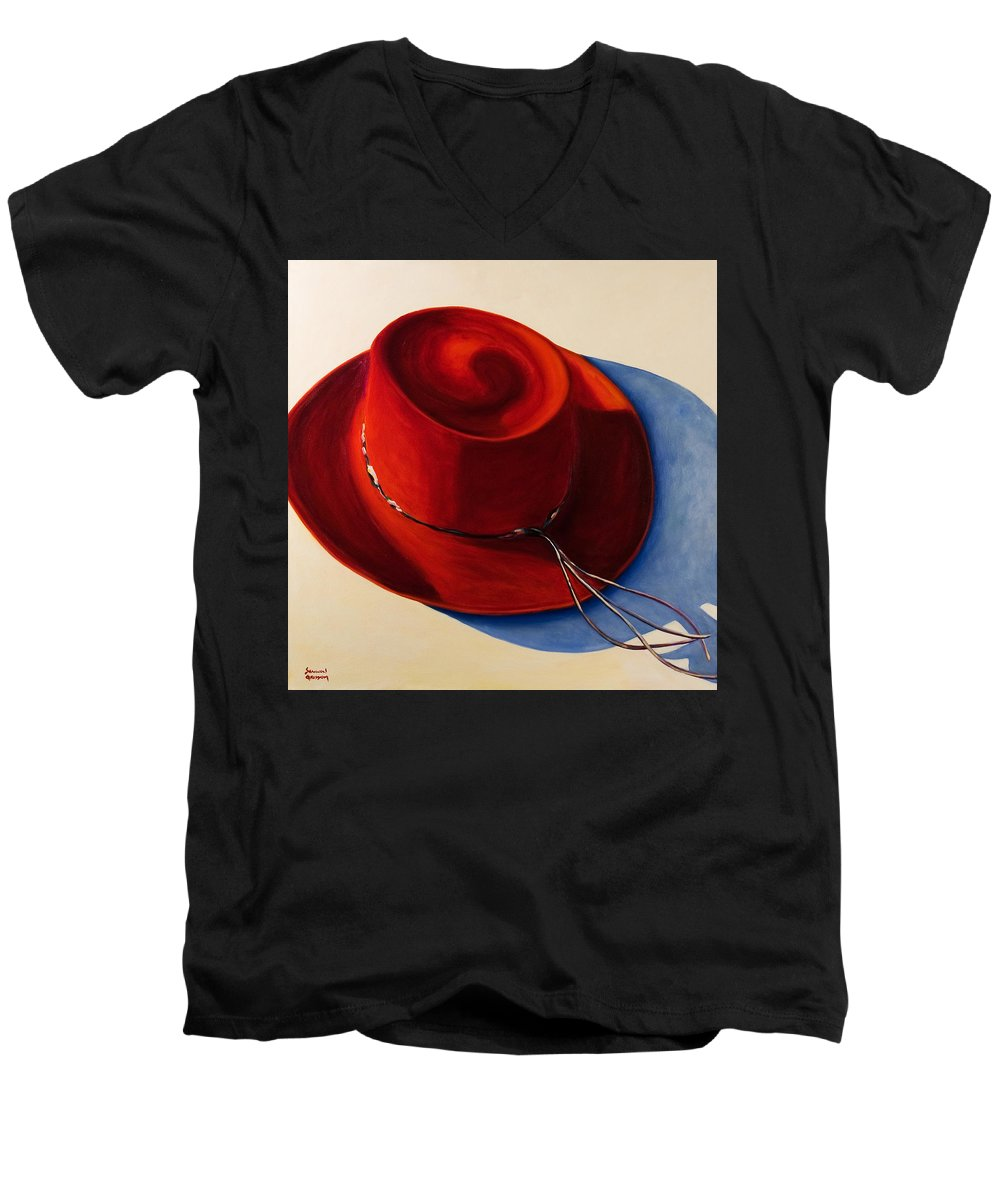 Red Hat Men's V-Neck T-Shirt featuring the painting Red Hat by Shannon Grissom