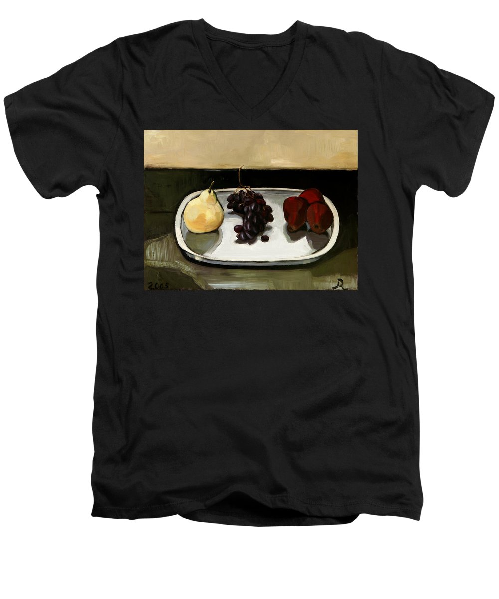 Still-life Grapes Pears Men's V-Neck T-Shirt featuring the painting Red Pears by Raimonda Jatkeviciute-Kasparaviciene