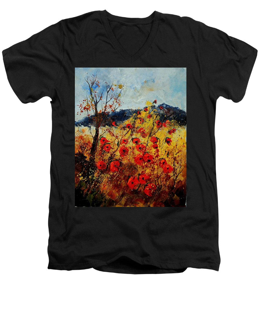 Poppies Men's V-Neck T-Shirt featuring the painting Red Poppies In Provence by Pol Ledent