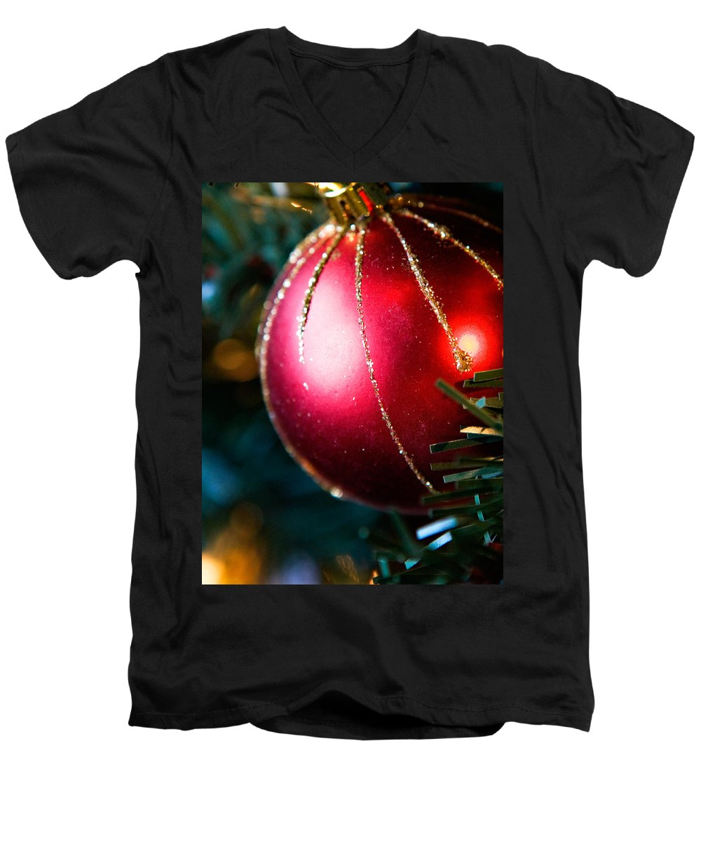 Red Men's V-Neck T-Shirt featuring the photograph Red Shiny Ornament by Marilyn Hunt