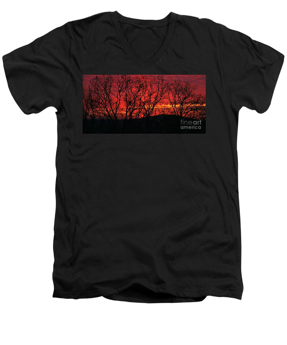 Sunrise Men's V-Neck T-Shirt featuring the photograph Red Sunrise Over The Ozarks by Nadine Rippelmeyer