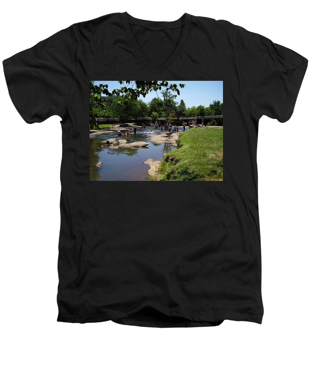 Reedy River Men's V-Neck T-Shirt featuring the photograph Reedy River by Flavia Westerwelle