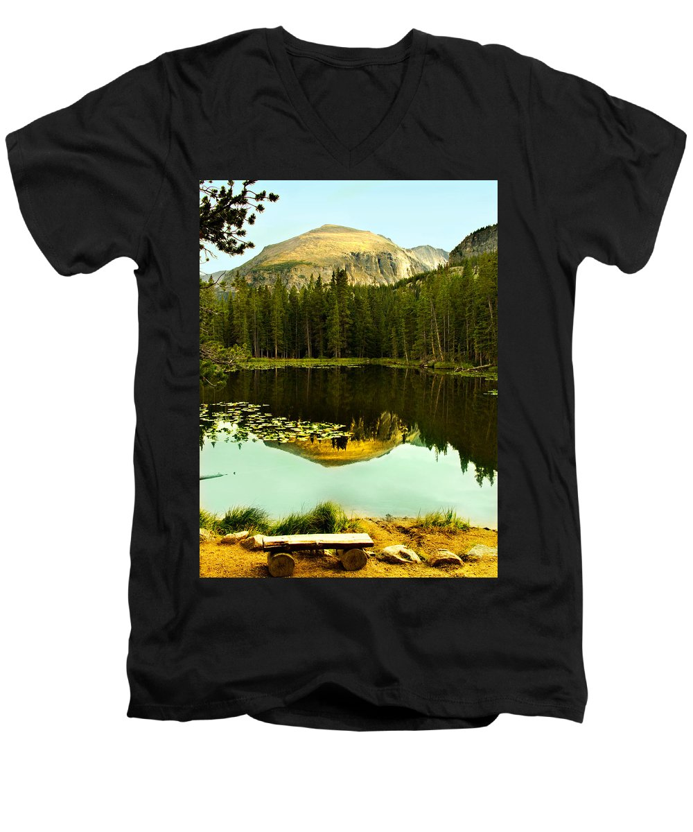 Reflection Men's V-Neck T-Shirt featuring the photograph Reflection by Marilyn Hunt
