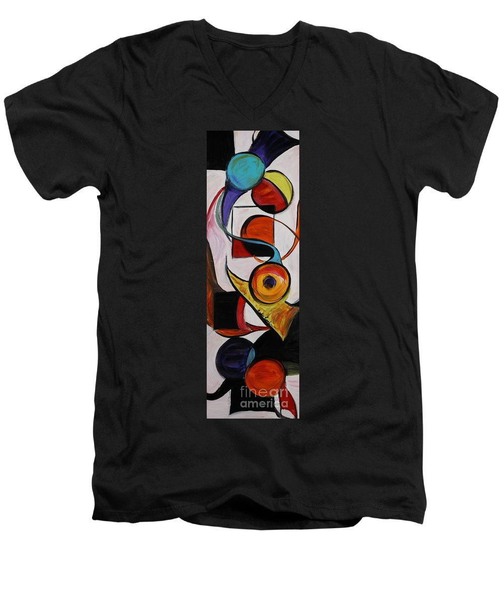 Shapes Men's V-Neck T-Shirt featuring the painting Relationships by Nadine Rippelmeyer
