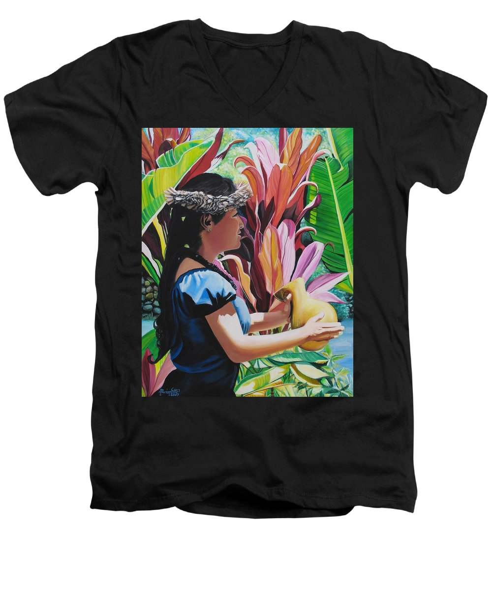 Rhythm Men's V-Neck T-Shirt featuring the painting Rhythm Of The Hula by Marionette Taboniar