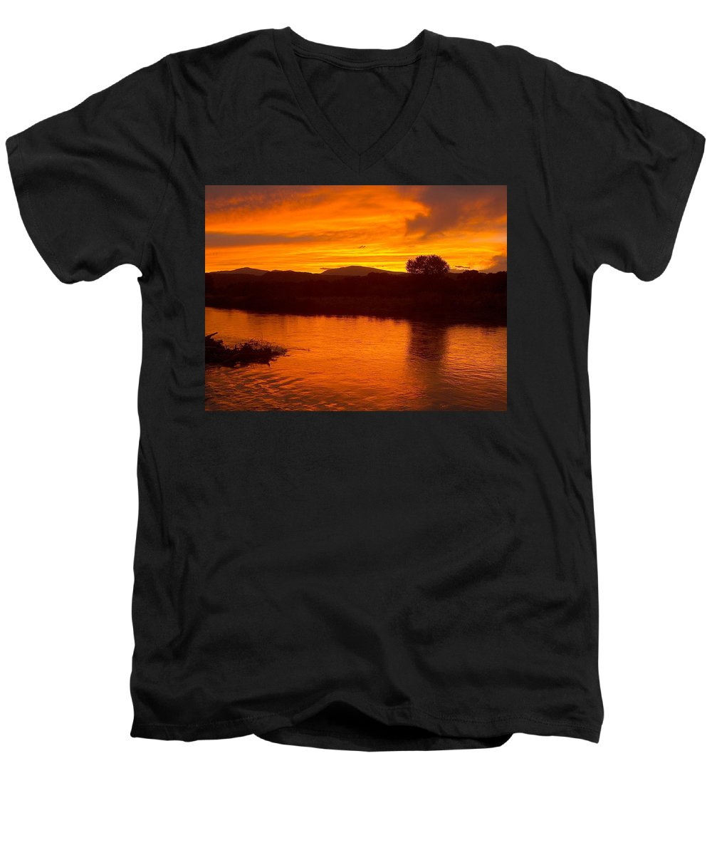 Sunset Men's V-Neck T-Shirt featuring the photograph Rio Grande Sunset by Tim McCarthy
