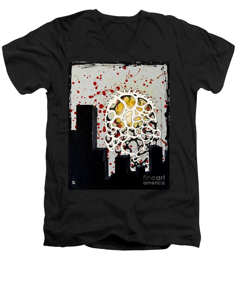 Energy Men's V-Neck T-Shirt featuring the painting Rise by A 2 H D