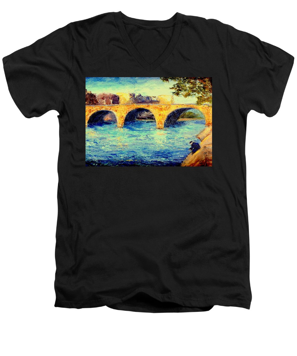 Impressionism Men's V-Neck T-Shirt featuring the painting River Seine Bridge by Gail Kirtz