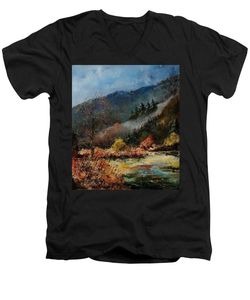 River Men's V-Neck T-Shirt featuring the painting River Semois by Pol Ledent