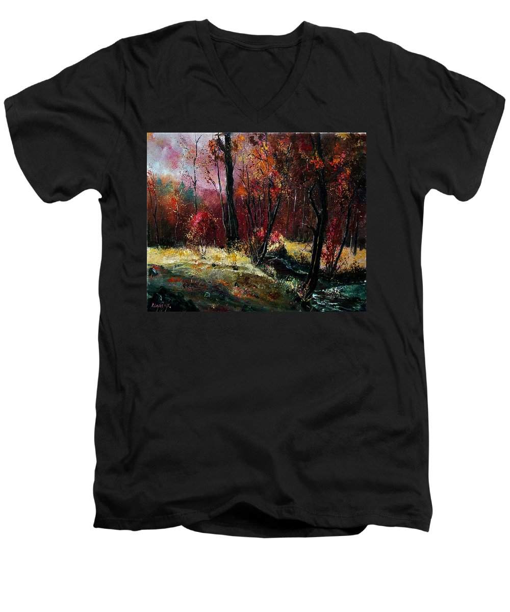 River Men's V-Neck T-Shirt featuring the painting River Ywoigne by Pol Ledent