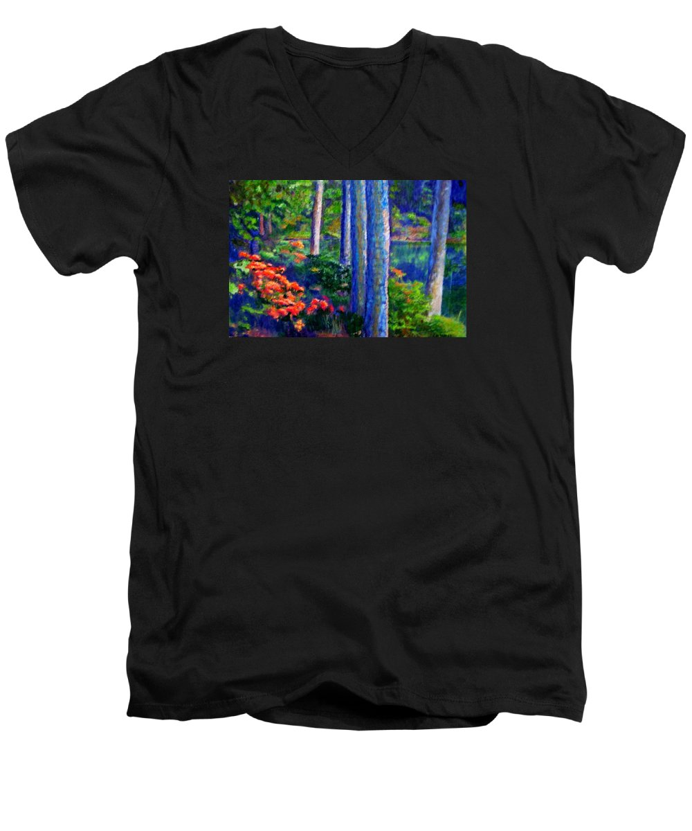 River Men's V-Neck T-Shirt featuring the painting Rivers Edge by Michael Durst