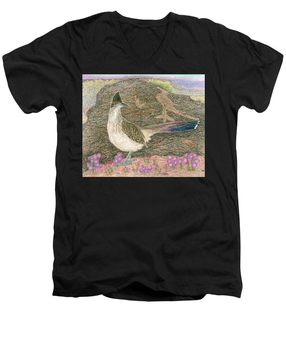 Roadrunner Men's V-Neck T-Shirt featuring the drawing Roadrunner by Tim McCarthy