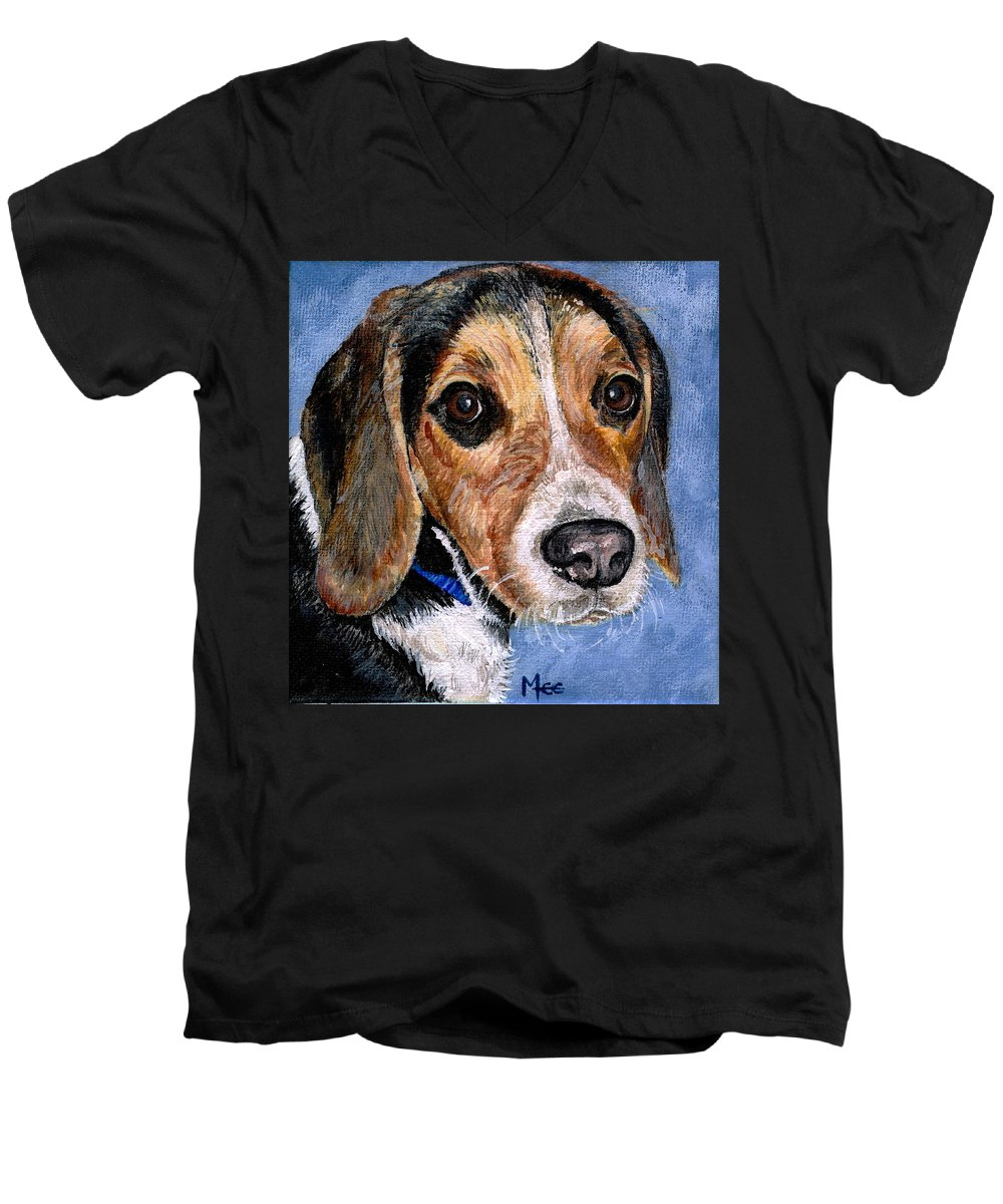 Dog Men's V-Neck T-Shirt featuring the painting Rocky by Mary-Lee Sanders