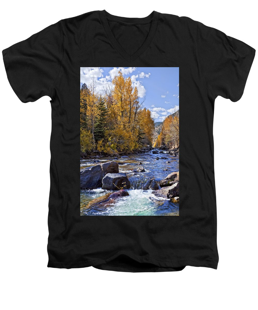 Stream Men's V-Neck T-Shirt featuring the photograph Rocky Mountain Water by Kelley King