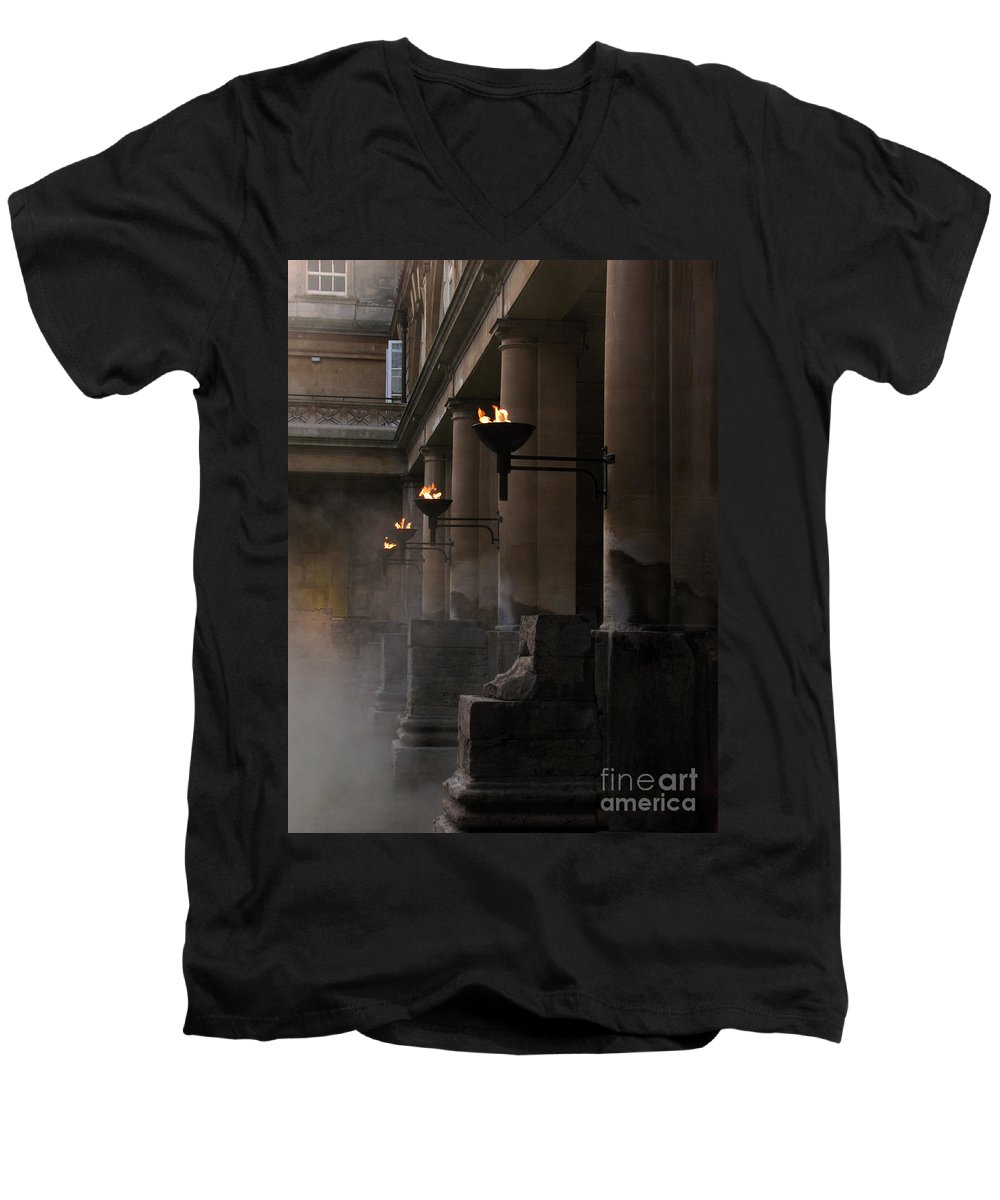Bath Men's V-Neck T-Shirt featuring the photograph Roman Baths by Amanda Barcon