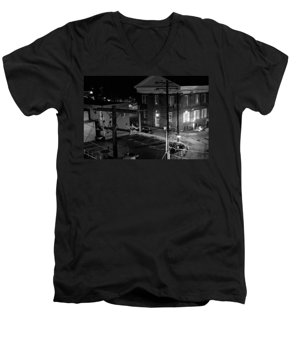 Black White Men's V-Neck T-Shirt featuring the photograph Rooftop Court by Jean Macaluso