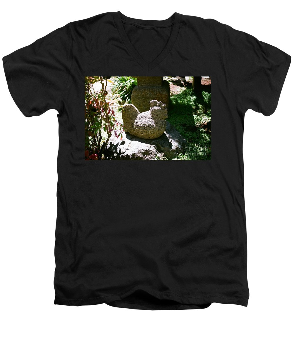 Stone Men's V-Neck T-Shirt featuring the photograph Rooster by Dean Triolo