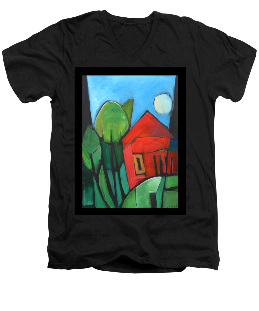 Trees Men's V-Neck T-Shirt featuring the painting Root Cellar by Tim Nyberg