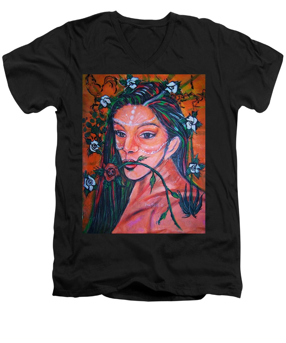 Latina Men's V-Neck T-Shirt featuring the painting Rosales Latina by Americo Salazar