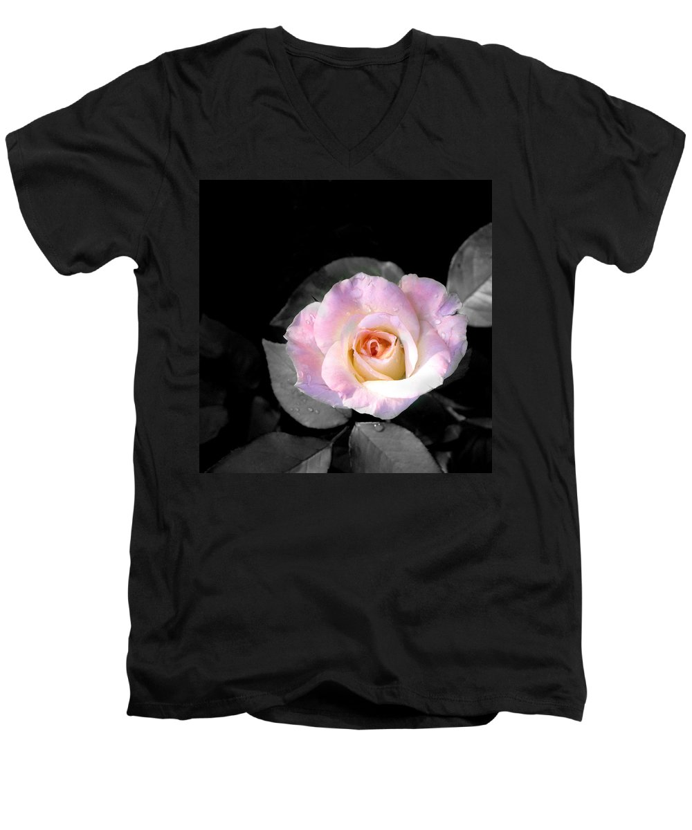 Princess Diana Rose Men's V-Neck T-Shirt featuring the photograph Rose Emergance by Steve Karol