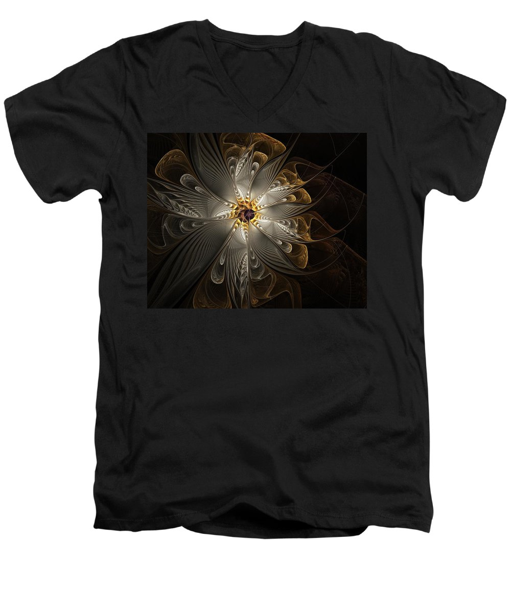 Digital Art Men's V-Neck T-Shirt featuring the digital art Rosette In Gold And Silver by Amanda Moore