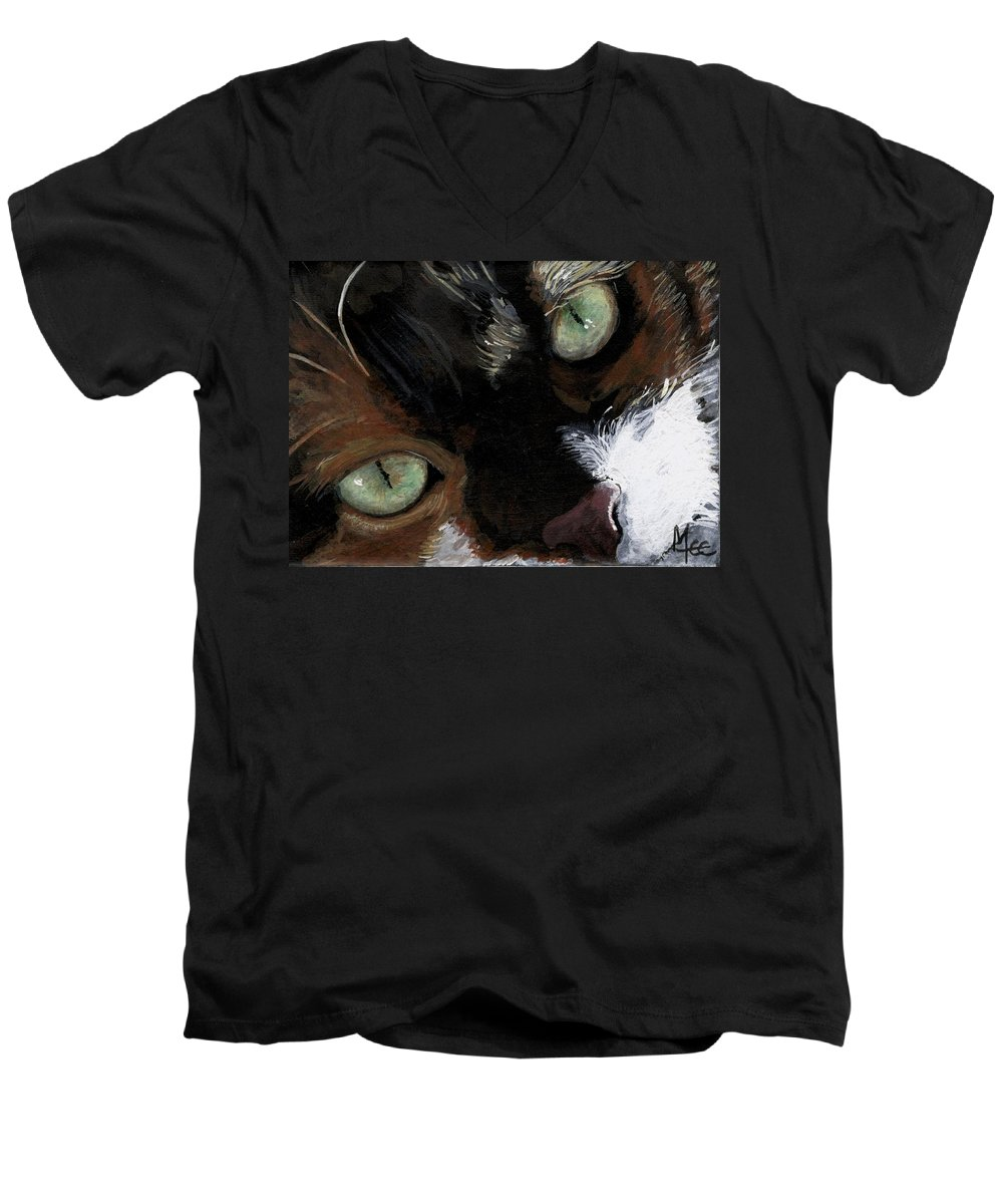 Charity Men's V-Neck T-Shirt featuring the painting Rosie by Mary-Lee Sanders