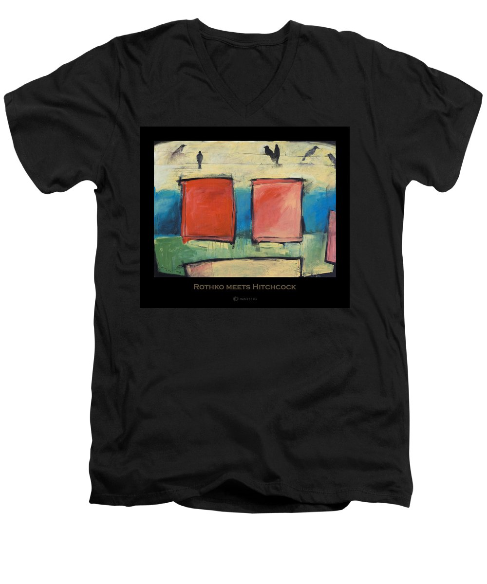 Rothko Men's V-Neck T-Shirt featuring the painting Rothko Meets Hitchcock - Poster by Tim Nyberg