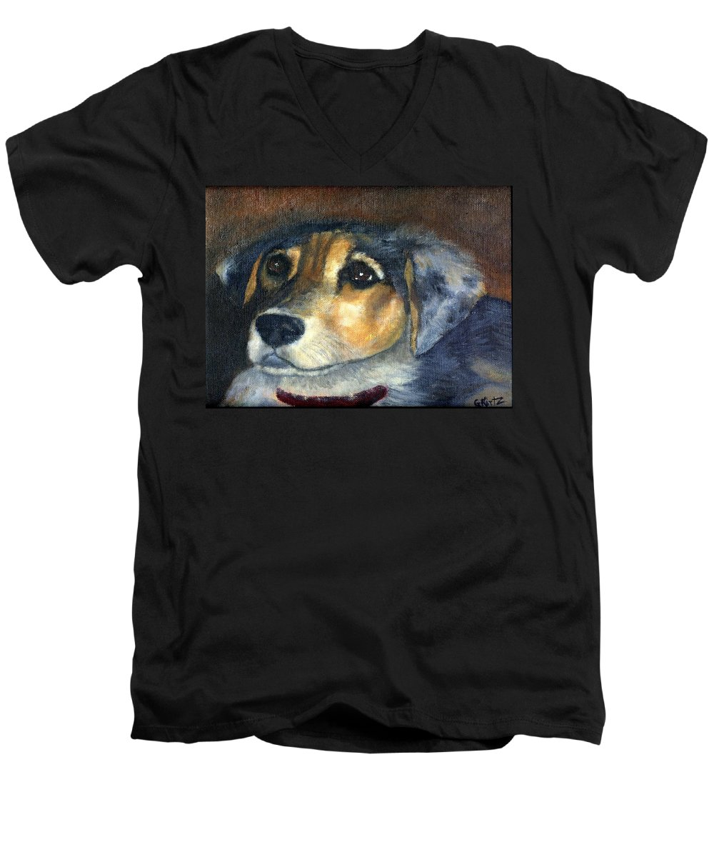Dog Men's V-Neck T-Shirt featuring the painting Roxie by Gail Kirtz