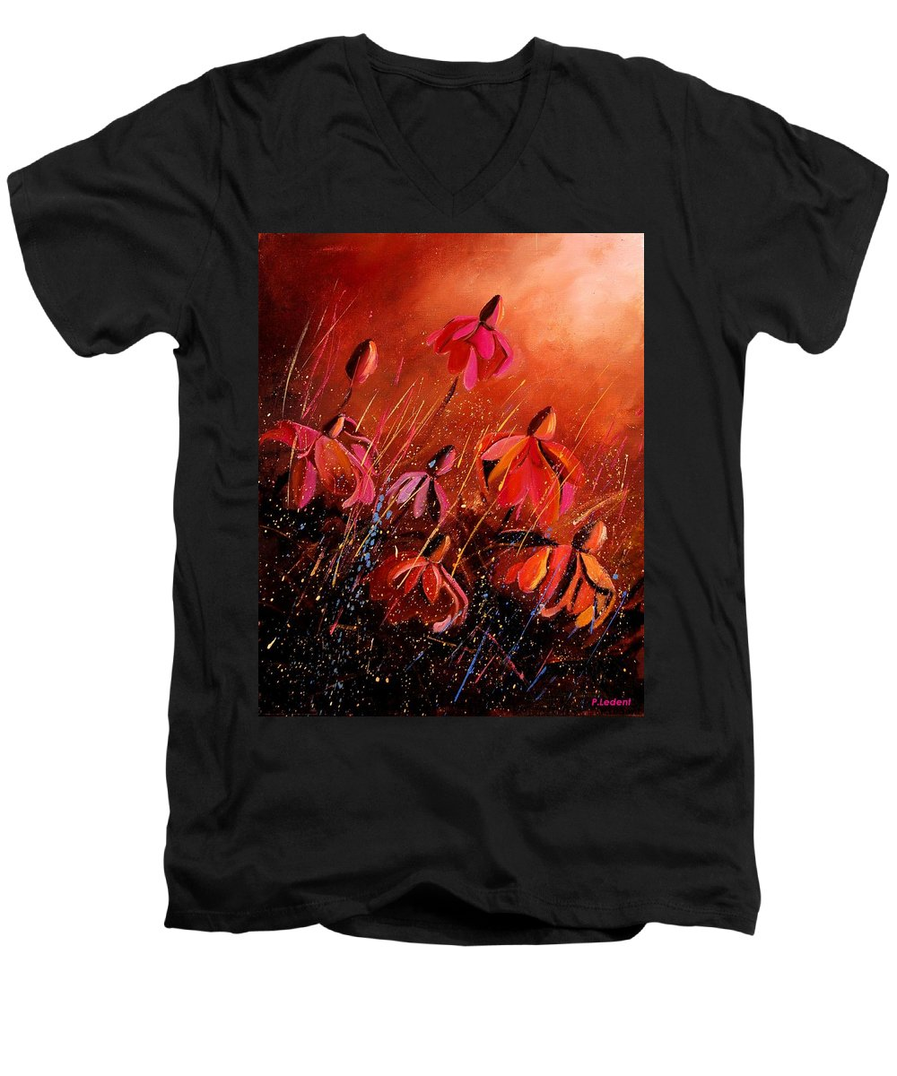 Poppies Men's V-Neck T-Shirt featuring the painting Rudbeckia's 45 by Pol Ledent