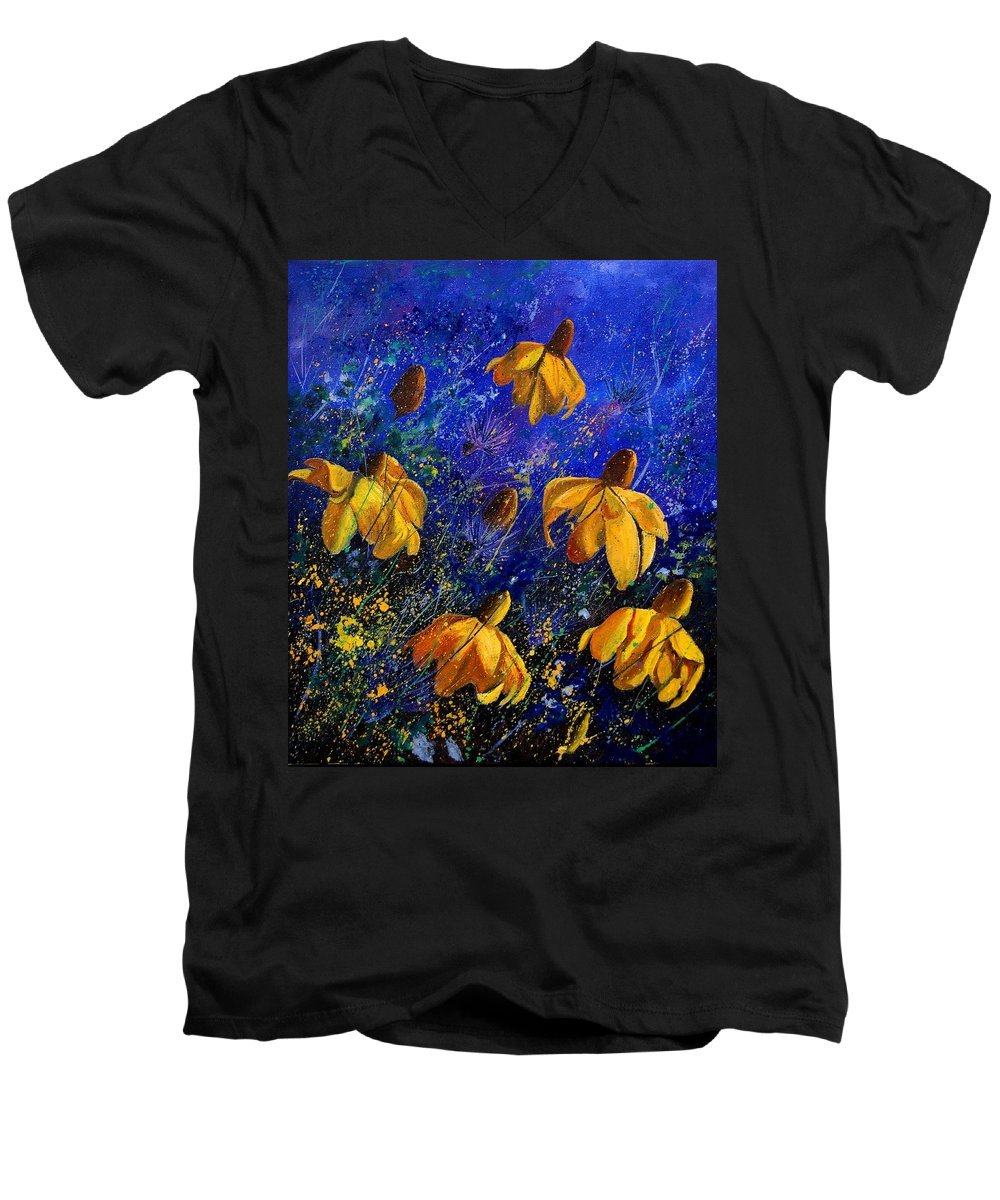 Poppies Men's V-Neck T-Shirt featuring the painting Rudbeckia's by Pol Ledent