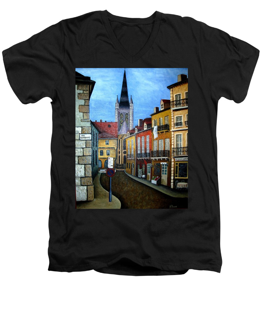 Street Scene Men's V-Neck T-Shirt featuring the painting Rue Lamonnoye In Dijon France by Nancy Mueller