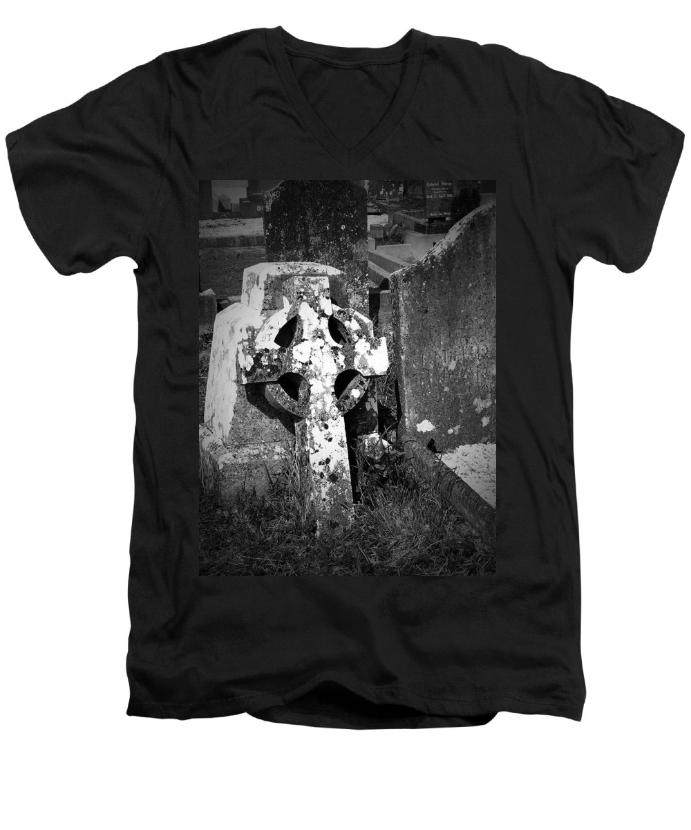 Celtic Men's V-Neck T-Shirt featuring the photograph Rugged Cross At Fuerty Cemetery Roscommon Ireland by Teresa Mucha