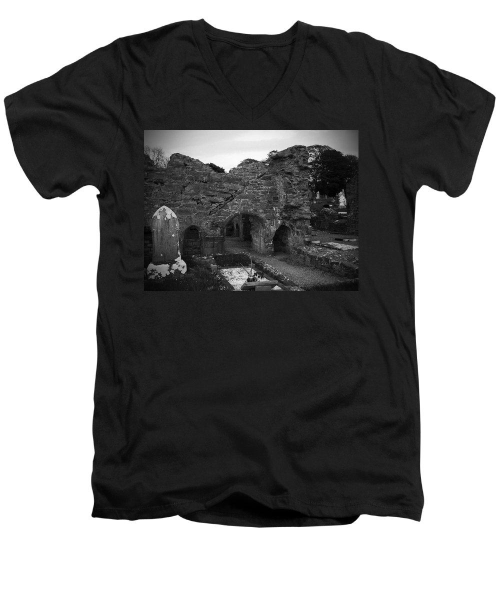 Irish Men's V-Neck T-Shirt featuring the photograph Ruins At Donegal Abbey Donegal Ireland by Teresa Mucha
