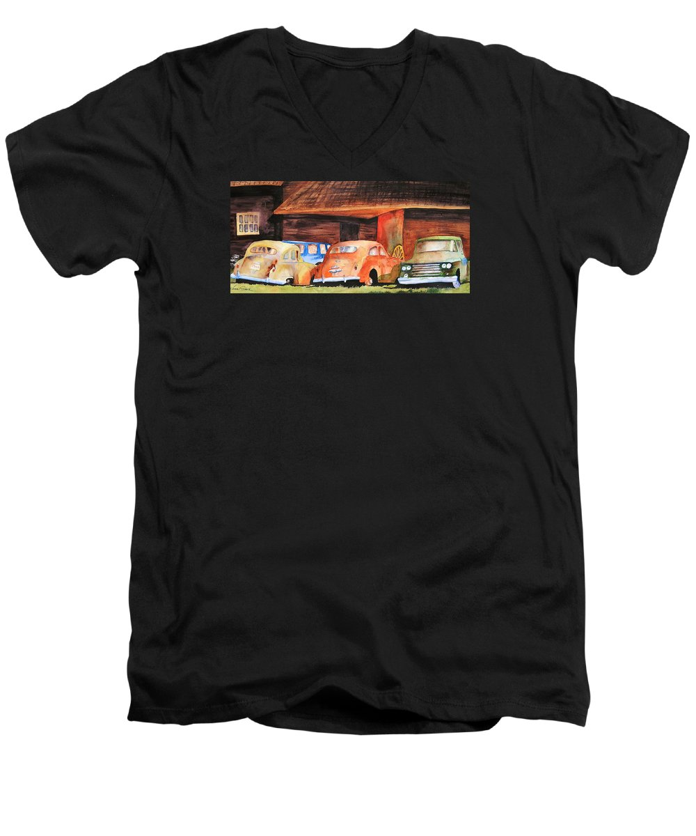 Car Men's V-Neck T-Shirt featuring the painting Rusting by Karen Stark