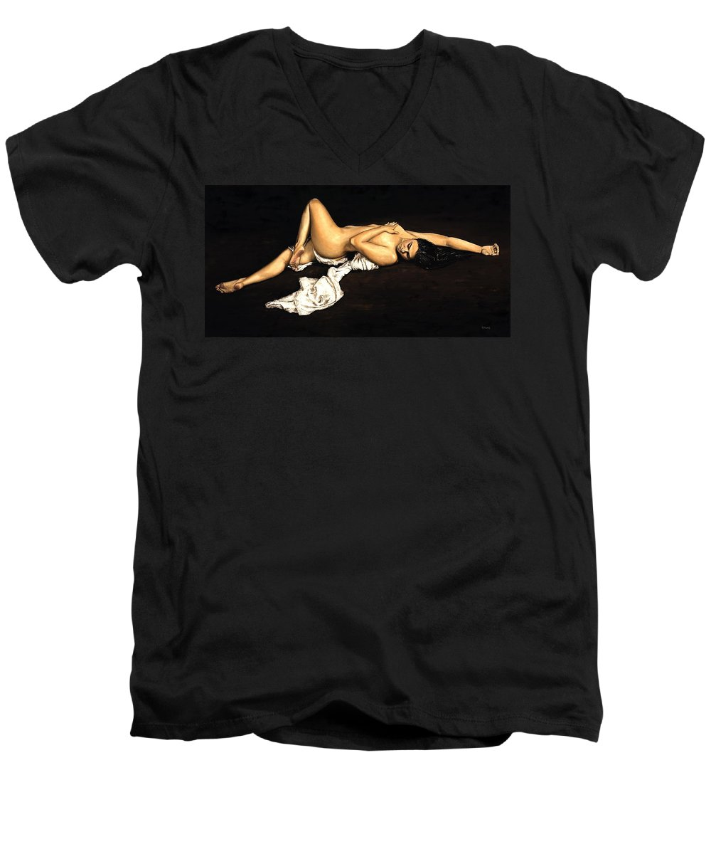 Nude Men's V-Neck T-Shirt featuring the painting Sacred by Richard Young