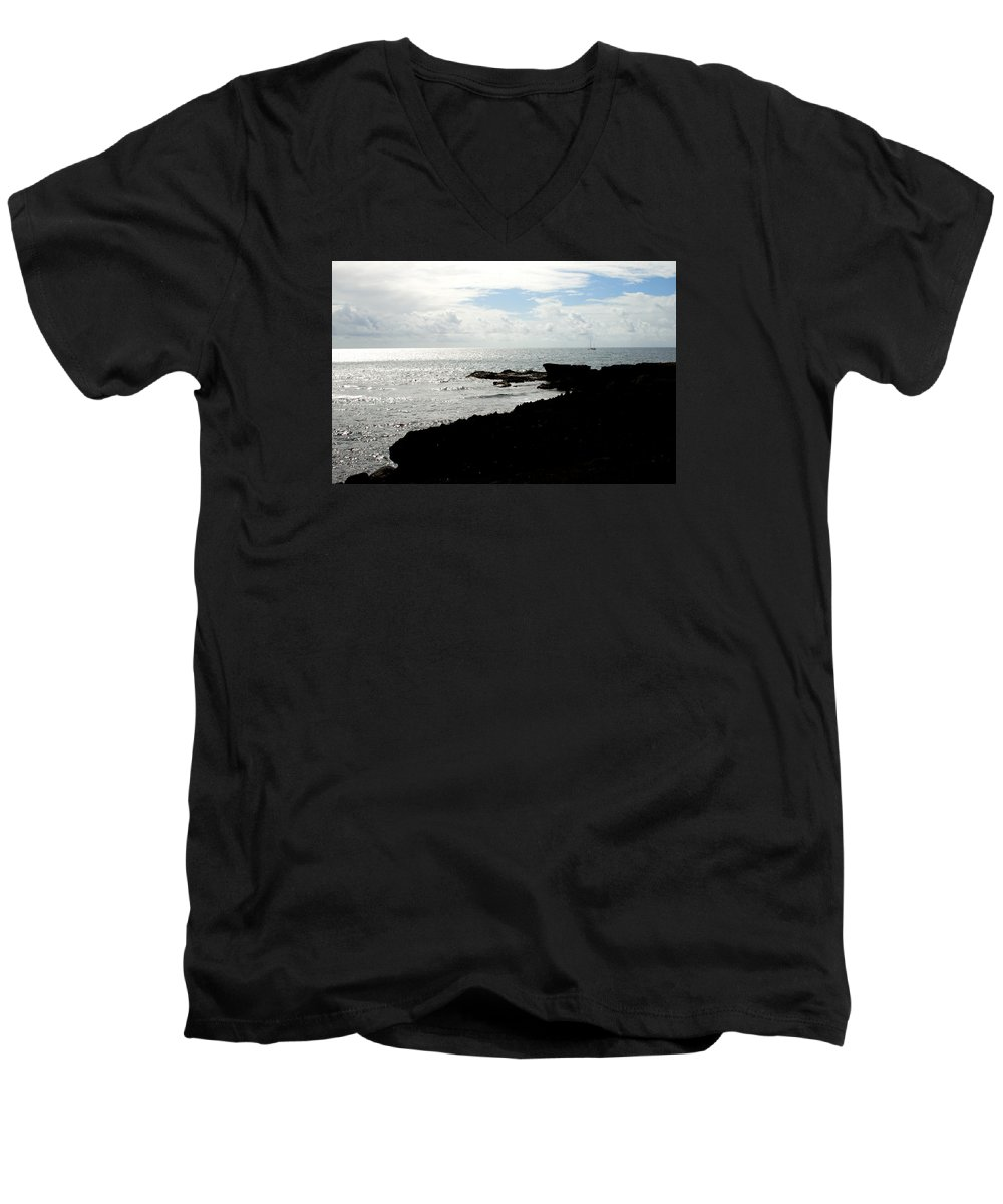 Sailboat Men's V-Neck T-Shirt featuring the photograph Sailboat At Point by Jean Macaluso