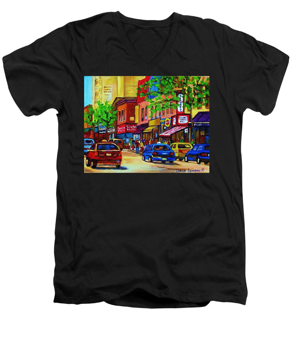 Cityscape Men's V-Neck T-Shirt featuring the painting Saint Lawrence Street by Carole Spandau