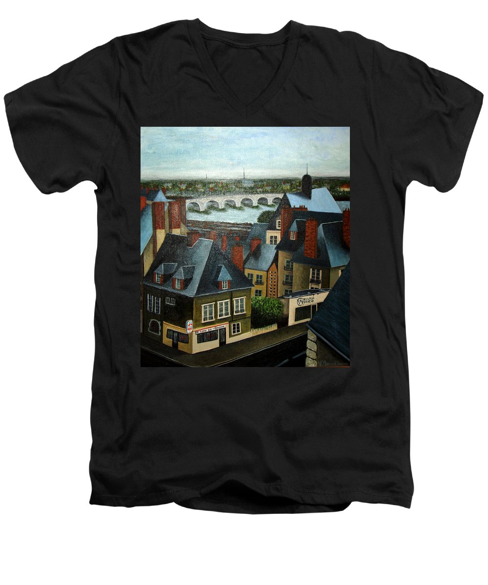 Acrylic Men's V-Neck T-Shirt featuring the painting Saint Lubin Bar In Lyon France by Nancy Mueller